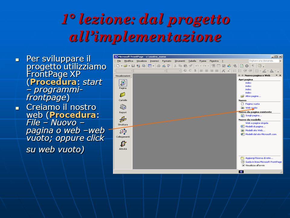 1° lezione: dal progetto allimplementazione Per sviluppare il progetto utilizziamo FrontPage XP (Procedura: start – programmi- frontpage) Per sviluppa