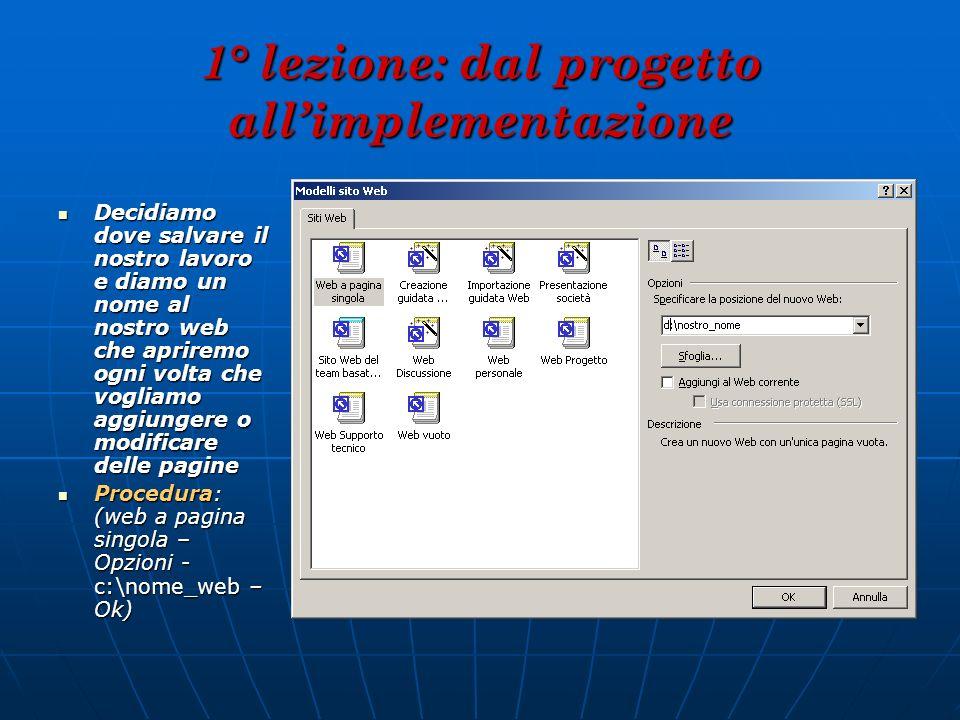 2° lezione: i frames e i link Come noterete, abbiamo creare molti files.