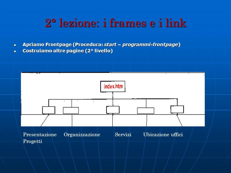 2° lezione: i frames e i link Apriamo Frontpage (Procedura: start – programmi-frontpage) Apriamo Frontpage (Procedura: start – programmi-frontpage) Co