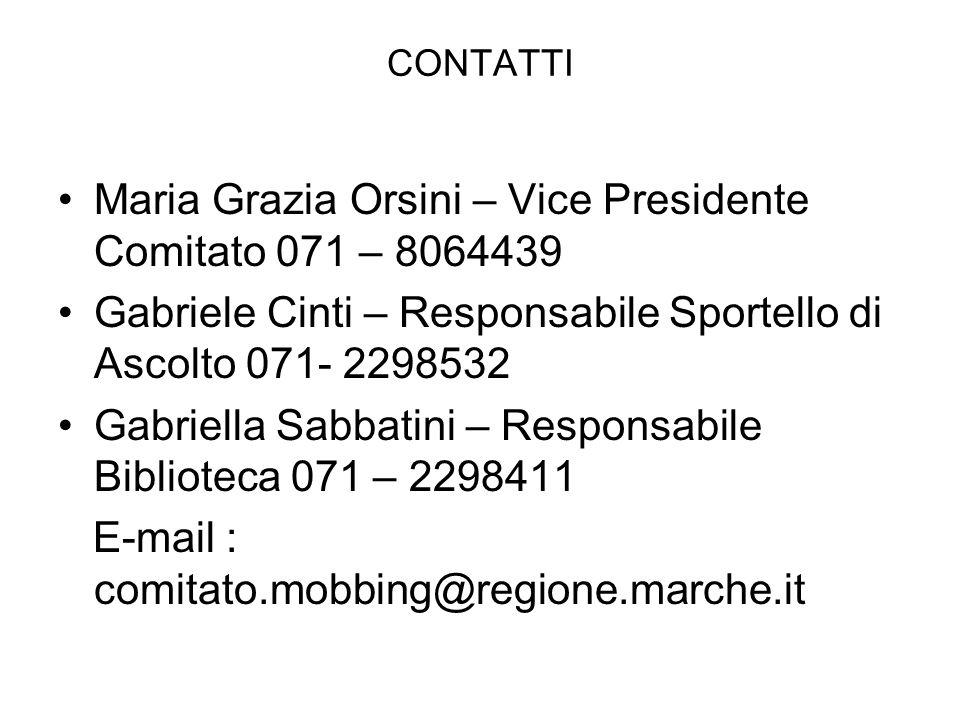 CONTATTI Maria Grazia Orsini – Vice Presidente Comitato 071 – 8064439 Gabriele Cinti – Responsabile Sportello di Ascolto 071- 2298532 Gabriella Sabbat