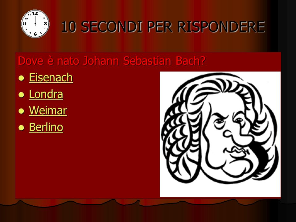 Conosci Johann Sebastian Bach? HOME Avanti