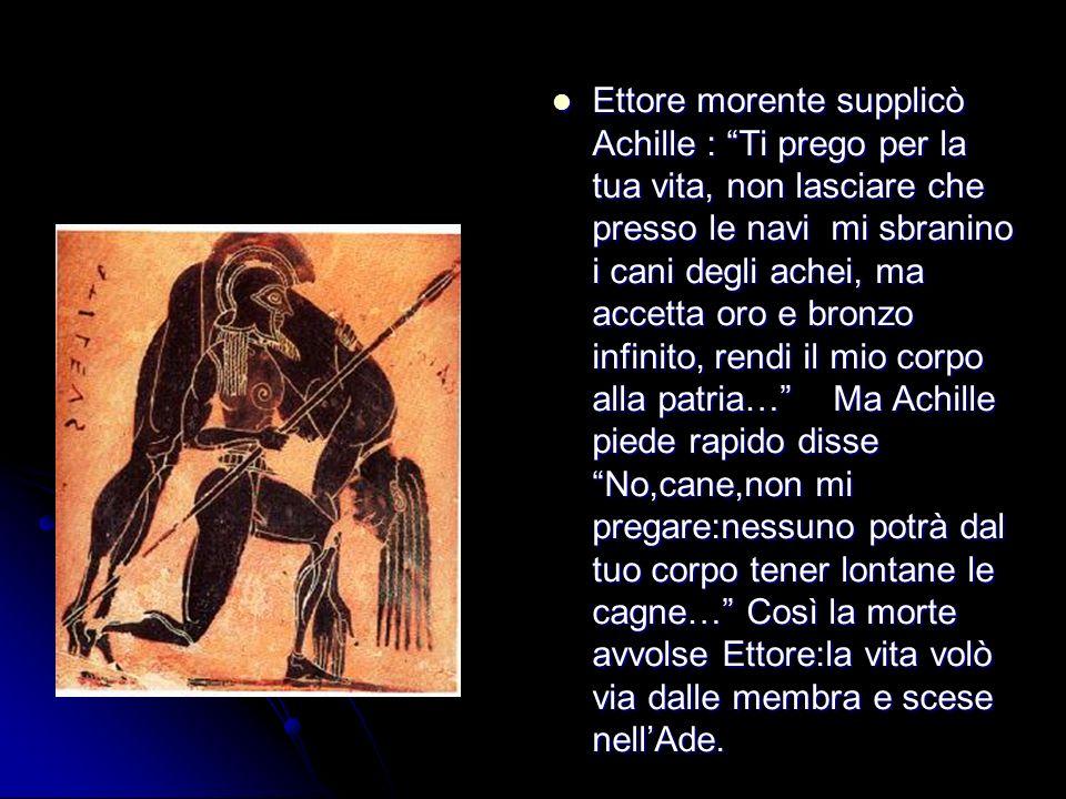 Ettore morente supplicò Achille : Ti prego per la tua vita, non lasciare che presso le navi mi sbranino i cani degli achei, ma accetta oro e bronzo in