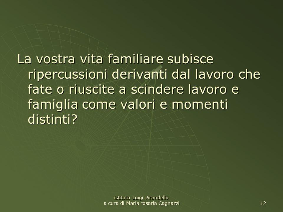 istituto Luigi Pirandello a cura di Maria rosaria Cagnazzi 12 La vostra vita familiare subisce ripercussioni derivanti dal lavoro che fate o riuscite