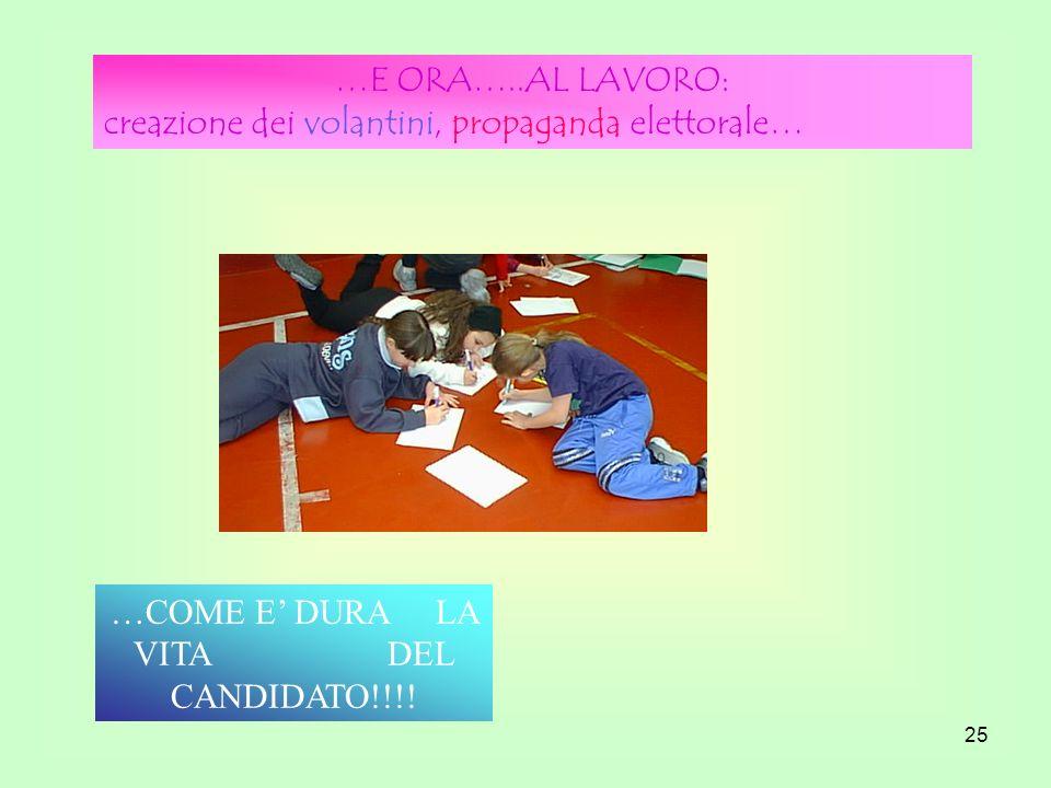 25 …E ORA…..AL LAVORO: creazione dei volantini, propaganda elettorale… …COME E DURA LA VITA DEL CANDIDATO!!!!