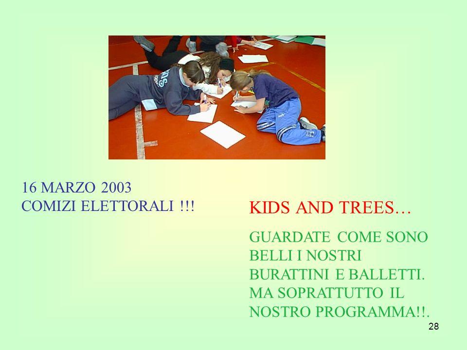28 KIDS AND TREES… GUARDATE COME SONO BELLI I NOSTRI BURATTINI E BALLETTI. MA SOPRATTUTTO IL NOSTRO PROGRAMMA!!. 16 MARZO 2003 COMIZI ELETTORALI !!!