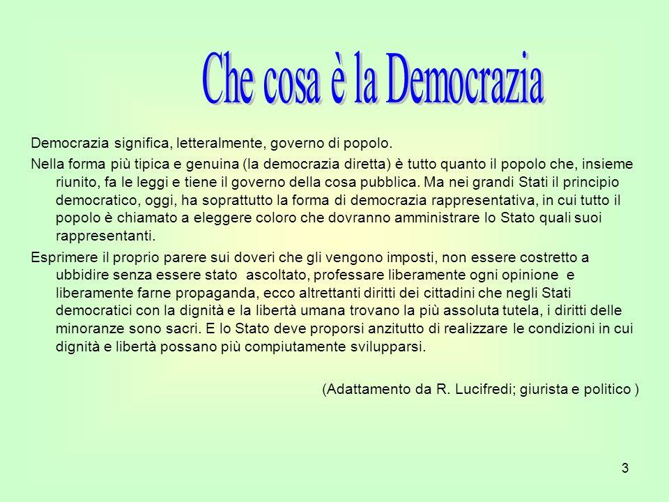 3 Democrazia significa, letteralmente, governo di popolo. Nella forma più tipica e genuina (la democrazia diretta) è tutto quanto il popolo che, insie