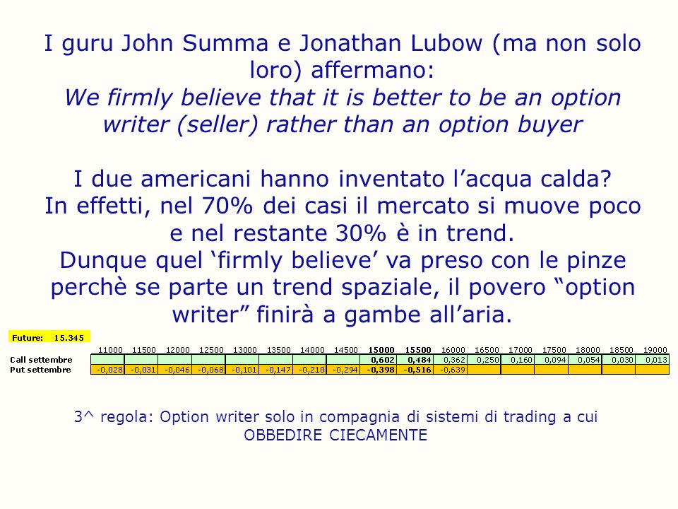 I guru John Summa e Jonathan Lubow (ma non solo loro) affermano: We firmly believe that it is better to be an option writer (seller) rather than an op