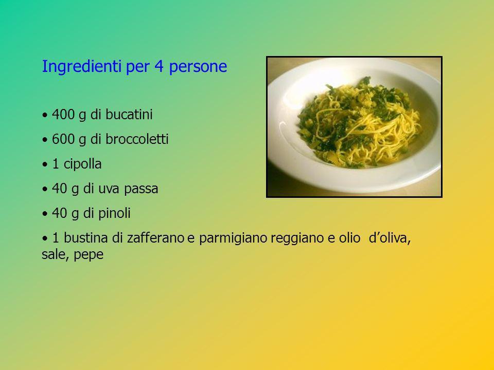 Ingredienti per 4 persone 400 g di bucatini 600 g di broccoletti 1 cipolla 40 g di uva passa 40 g di pinoli 1 bustina di zafferano e parmigiano reggia