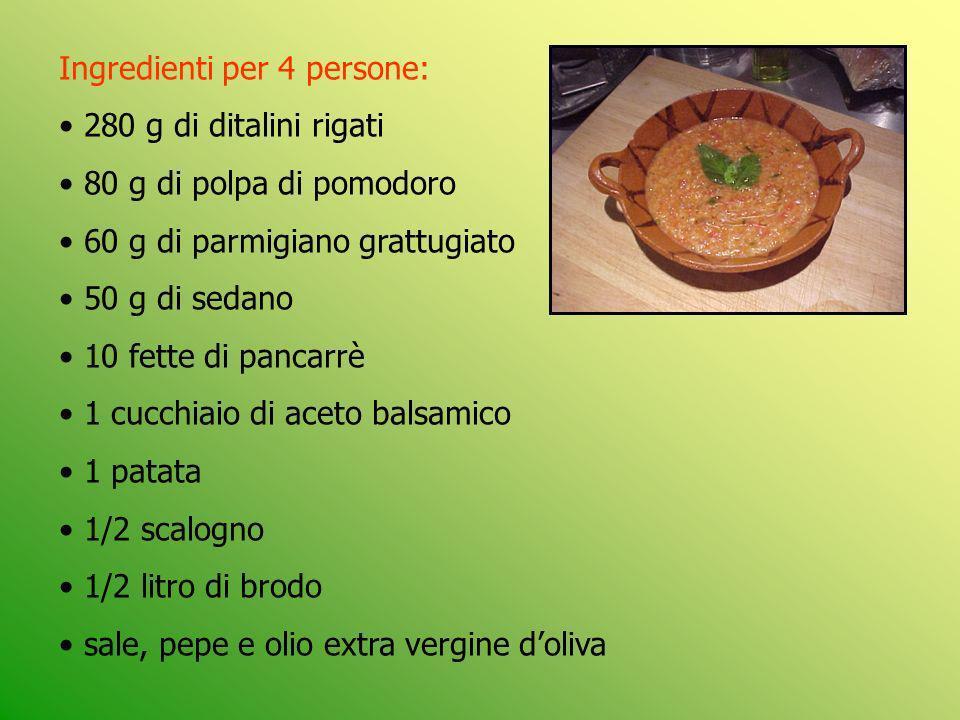 Ingredienti per 4 persone: 280 g di ditalini rigati 80 g di polpa di pomodoro 60 g di parmigiano grattugiato 50 g di sedano 10 fette di pancarrè 1 cuc