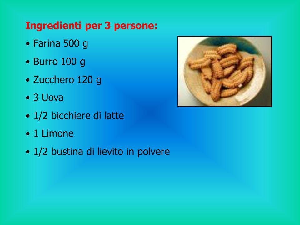 Ingredienti per 3 persone: Farina 500 g Burro 100 g Zucchero 120 g 3 Uova 1/2 bicchiere di latte 1 Limone 1/2 bustina di lievito in polvere