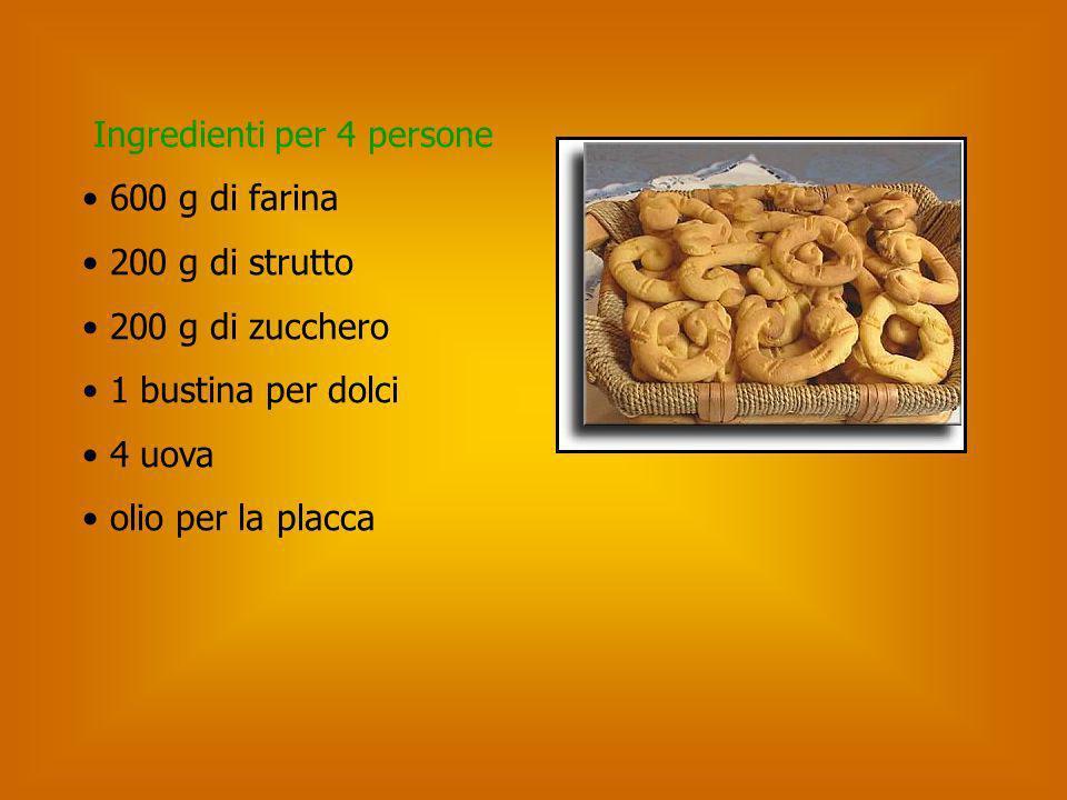 Ingredienti per 4 persone 600 g di farina 200 g di strutto 200 g di zucchero 1 bustina per dolci 4 uova olio per la placca