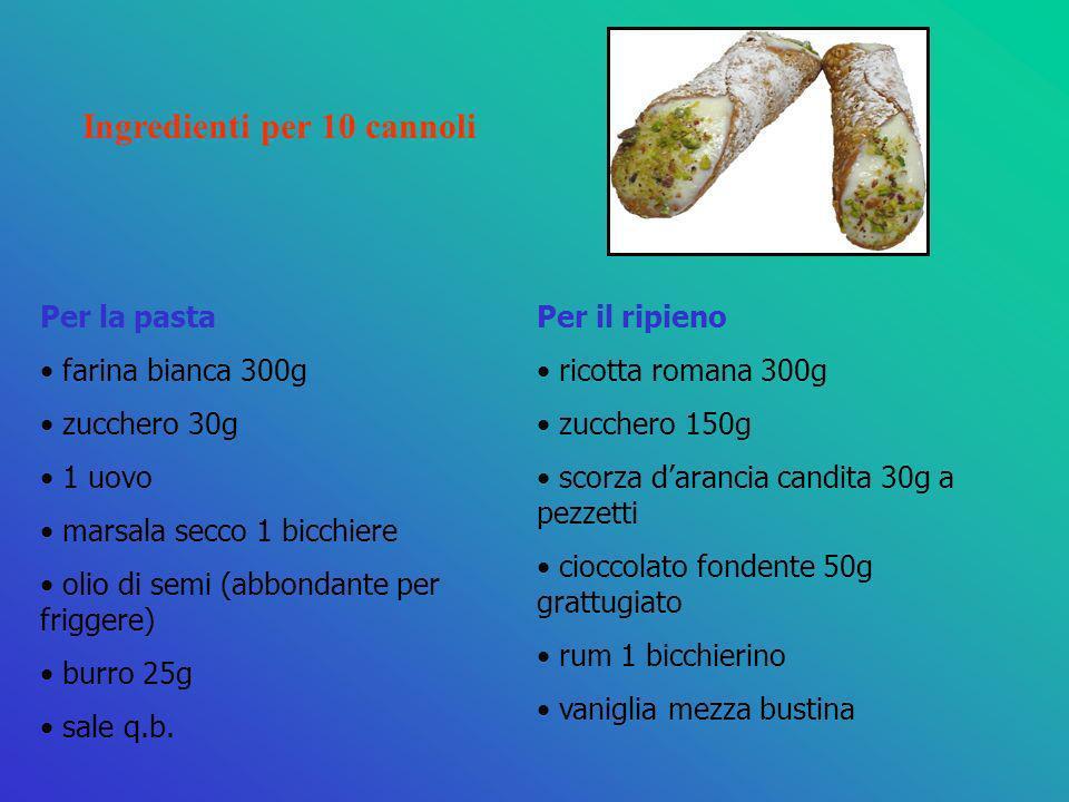 Per la pasta farina bianca 300g zucchero 30g 1 uovo marsala secco 1 bicchiere olio di semi (abbondante per friggere) burro 25g sale q.b. Per il ripien
