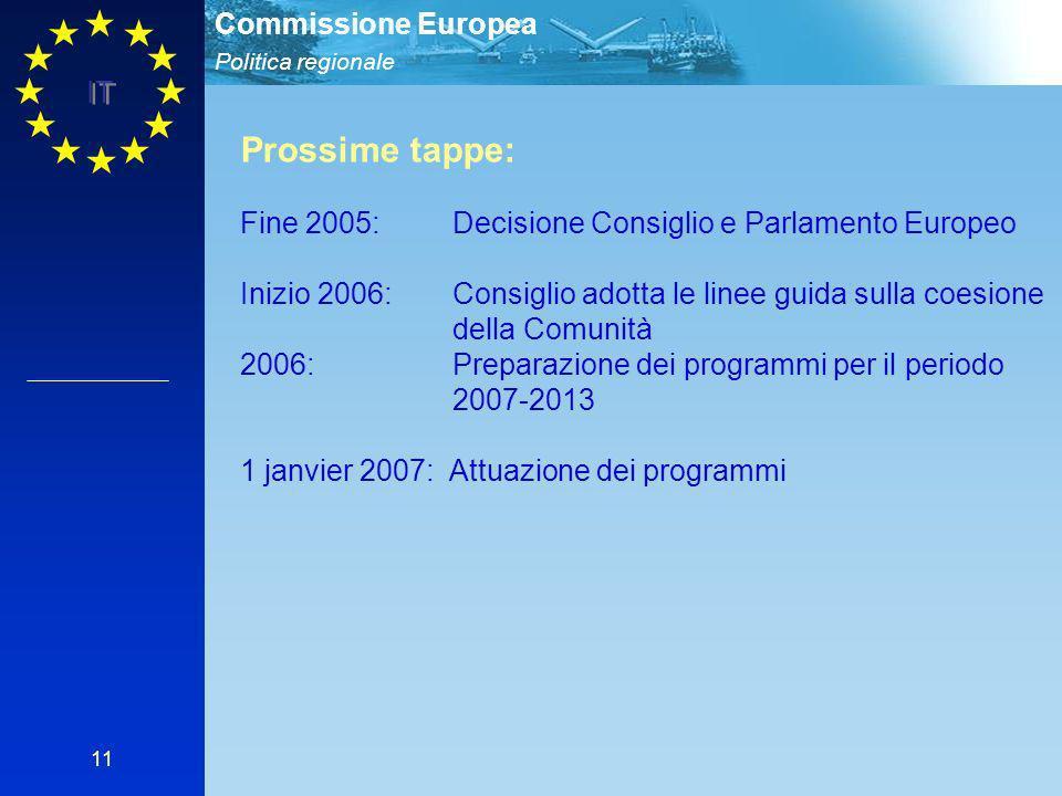 Politica regionale Commissione Europea IT 11 Prossime tappe: Fine 2005: Decisione Consiglio e Parlamento Europeo Inizio 2006: Consiglio adotta le linee guida sulla coesione della Comunità 2006: Preparazione dei programmi per il periodo 2007-2013 1 janvier 2007: Attuazione dei programmi