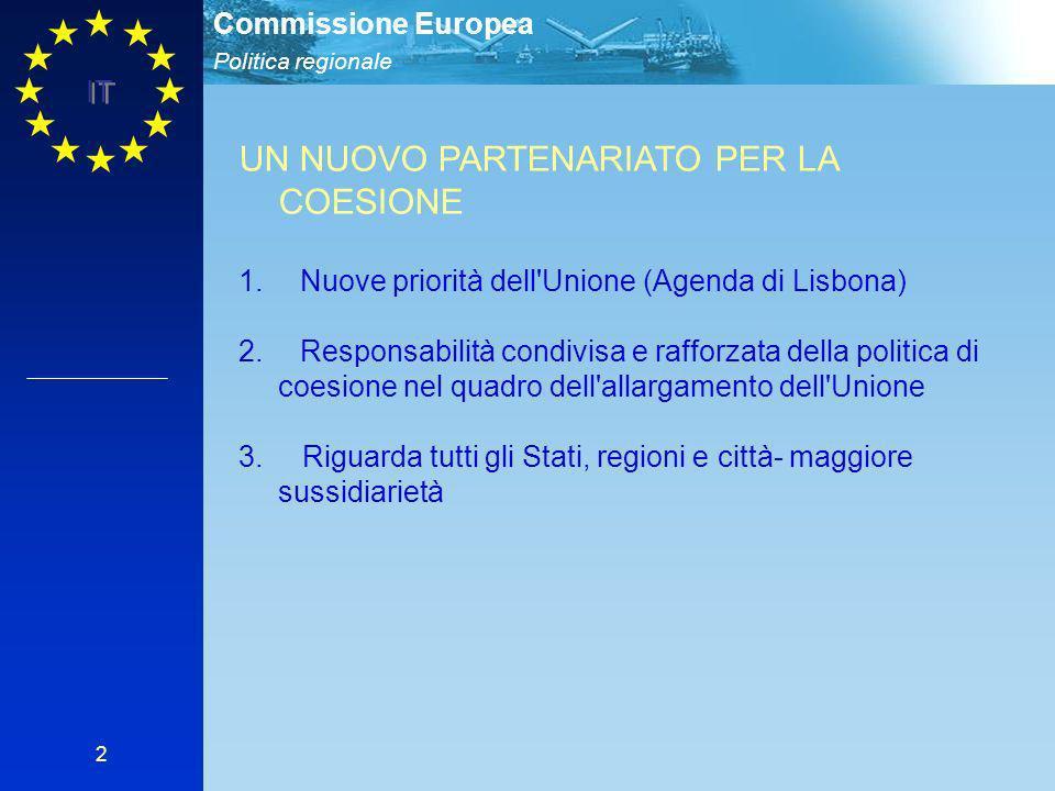 Politica regionale Commissione Europea IT 2 UN NUOVO PARTENARIATO PER LA COESIONE 1.Nuove priorità dell Unione (Agenda di Lisbona) 2.Responsabilità condivisa e rafforzata della politica di coesione nel quadro dell allargamento dell Unione 3.
