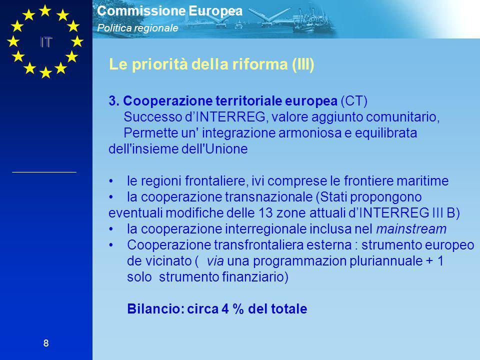Politica regionale Commissione Europea IT 8 Le priorità della riforma (III) 3. Cooperazione territoriale europea (CT) Successo dINTERREG, valore aggiu