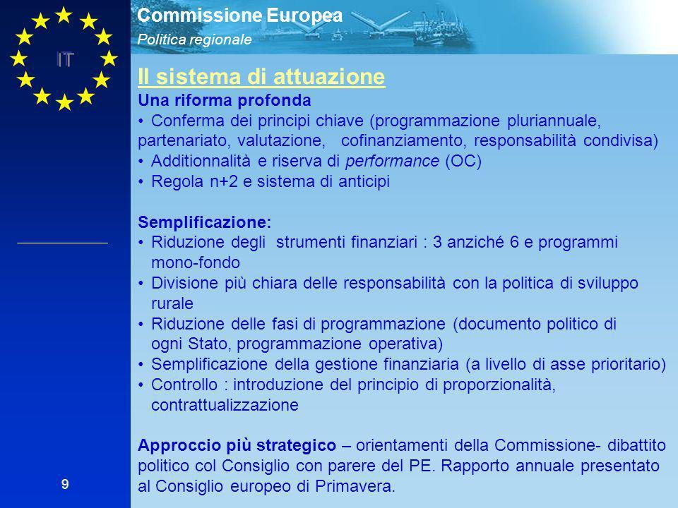 Politica regionale Commissione Europea IT 9 Il sistema di attuazione Una riforma profonda Conferma dei principi chiave (programmazione pluriannuale, partenariato, valutazione, cofinanziamento, responsabilità condivisa) Additionnalità e riserva di performance (OC) Regola n+2 e sistema di anticipi Semplificazione: Riduzione degli strumenti finanziari : 3 anziché 6 e programmi mono-fondo Divisione più chiara delle responsabilità con la politica di sviluppo rurale Riduzione delle fasi di programmazione (documento politico di ogni Stato, programmazione operativa) Semplificazione della gestione finanziaria (a livello di asse prioritario) Controllo : introduzione del principio di proporzionalità, contrattualizzazione Approccio più strategico – orientamenti della Commissione- dibattito politico col Consiglio con parere del PE.