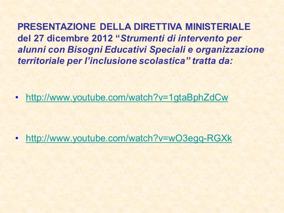 http://www.youtube.com/watch?v=1gtaBphZdCw http://www.youtube.com/watch?v=wO3egq-RGXk PRESENTAZIONE DELLA DIRETTIVA MINISTERIALE del 27 dicembre 2012 Strumenti di intervento per alunni con Bisogni Educativi Speciali e organizzazione territoriale per linclusione scolastica tratta da: