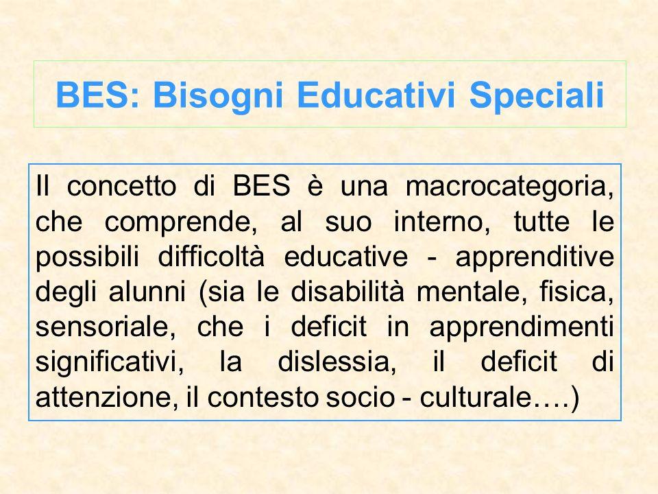 Il concetto di BES è una macrocategoria, che comprende, al suo interno, tutte le possibili difficoltà educative - apprenditive degli alunni (sia le di