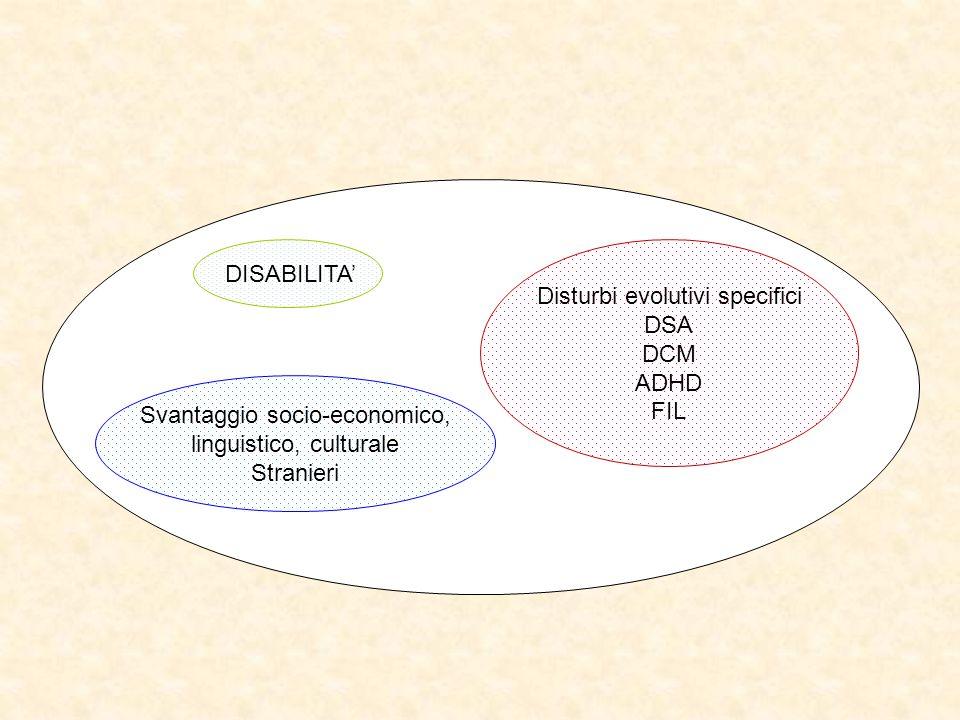 DISABILITA Disturbi evolutivi specifici DSA DCM ADHD FIL Svantaggio socio-economico, linguistico, culturale Stranieri