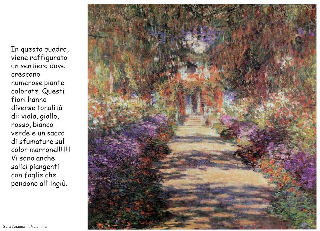 In questo quadro, viene raffigurato un sentiero dove crescono numerose piante colorate. Questi fiori hanno diverse tonalità di: viola, giallo, rosso,