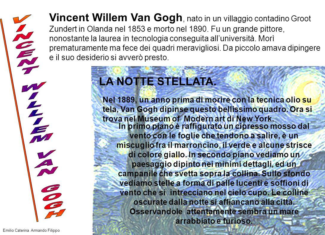 Vincent Willem Van Gogh, nato in un villaggio contadino Groot Zundert in Olanda nel 1853 e morto nel 1890. Fu un grande pittore, nonostante la laurea