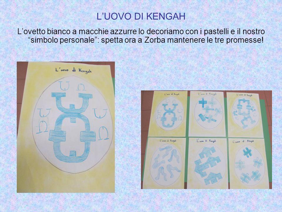 LUOVO DI KENGAH Lovetto bianco a macchie azzurre lo decoriamo con i pastelli e il nostro simbolo personale: spetta ora a Zorba mantenere le tre promes