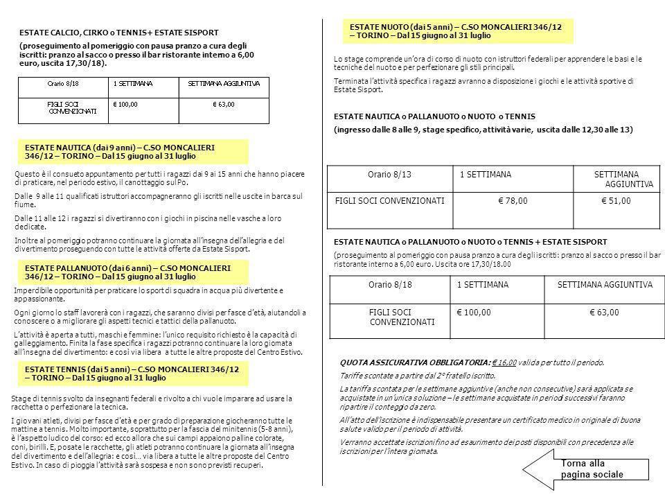 Orario 8/181 SETTIMANASETTIMANA AGGIUNTIVA FIGLI SOCI CONVENZIONATI 100,00 63,00 ESTATE CALCIO, CIRKO o TENNIS+ ESTATE SISPORT (proseguimento al pomer