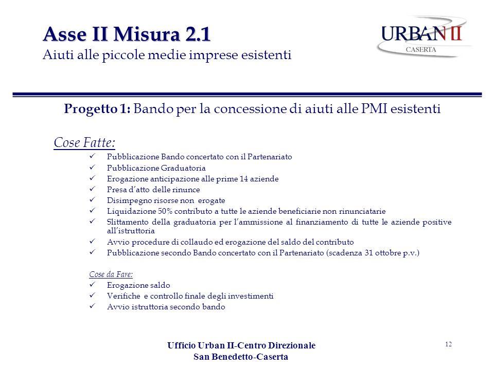Ufficio Urban II-Centro Direzionale San Benedetto-Caserta 12 Asse II Misura 2.1 Asse II Misura 2.1 Aiuti alle piccole medie imprese esistenti Progetto