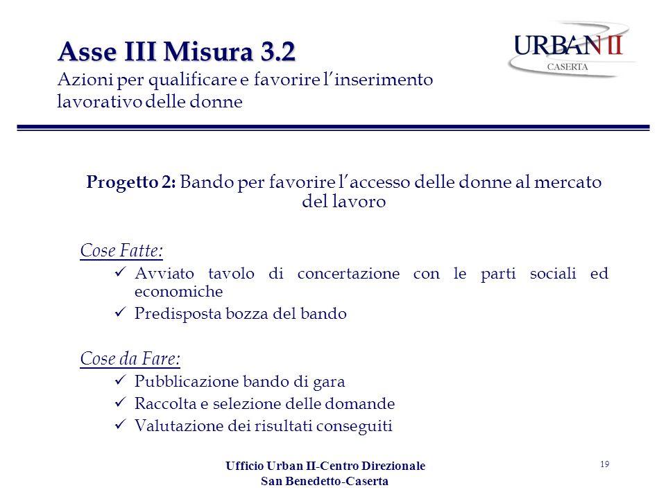 Ufficio Urban II-Centro Direzionale San Benedetto-Caserta 19 Asse III Misura 3.2 Asse III Misura 3.2 Azioni per qualificare e favorire linserimento la