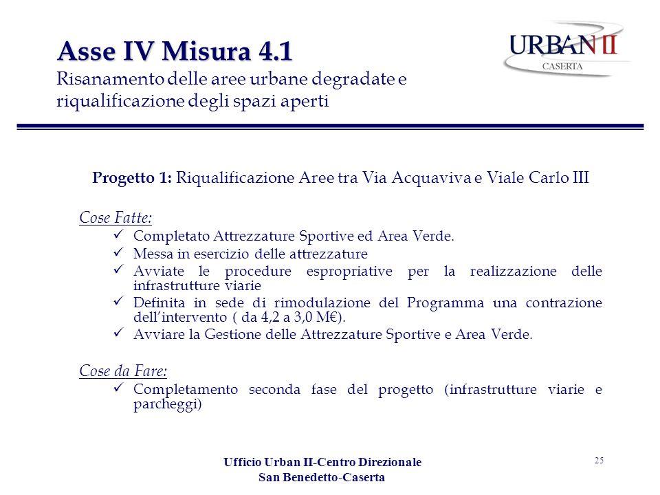 Ufficio Urban II-Centro Direzionale San Benedetto-Caserta 25 Asse IV Misura 4.1 Asse IV Misura 4.1 Risanamento delle aree urbane degradate e riqualifi