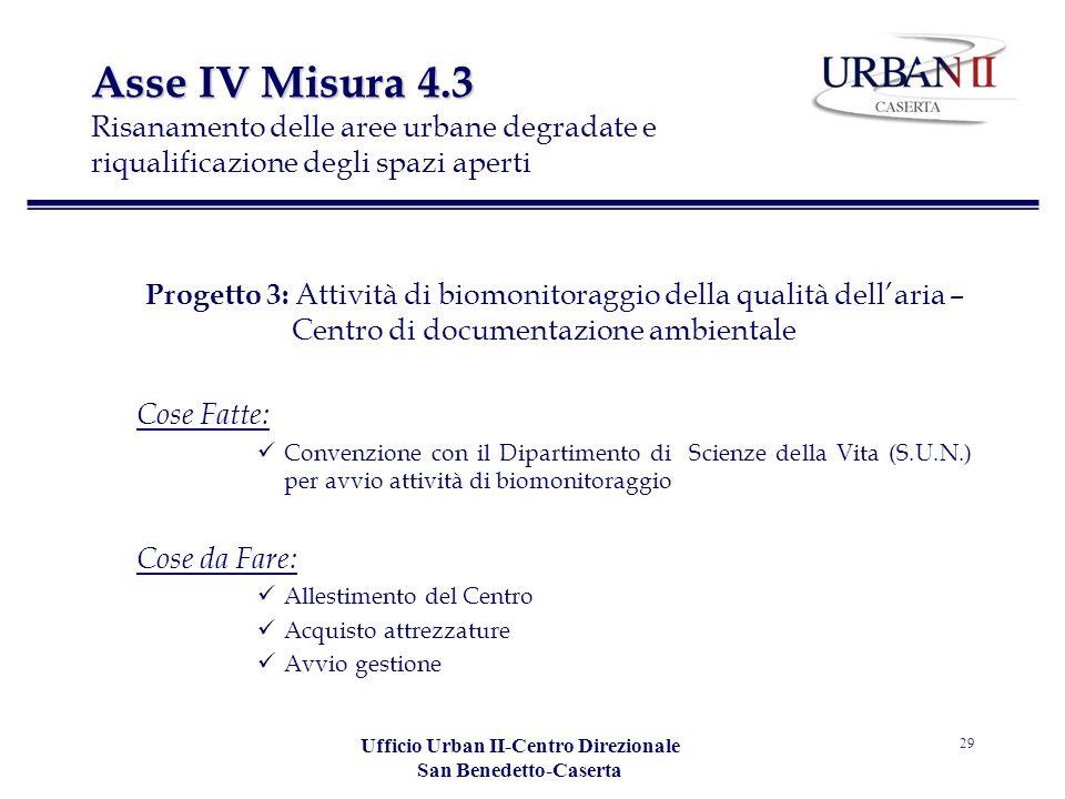 Ufficio Urban II-Centro Direzionale San Benedetto-Caserta 29 Asse IV Misura 4.3 Asse IV Misura 4.3 Risanamento delle aree urbane degradate e riqualifi