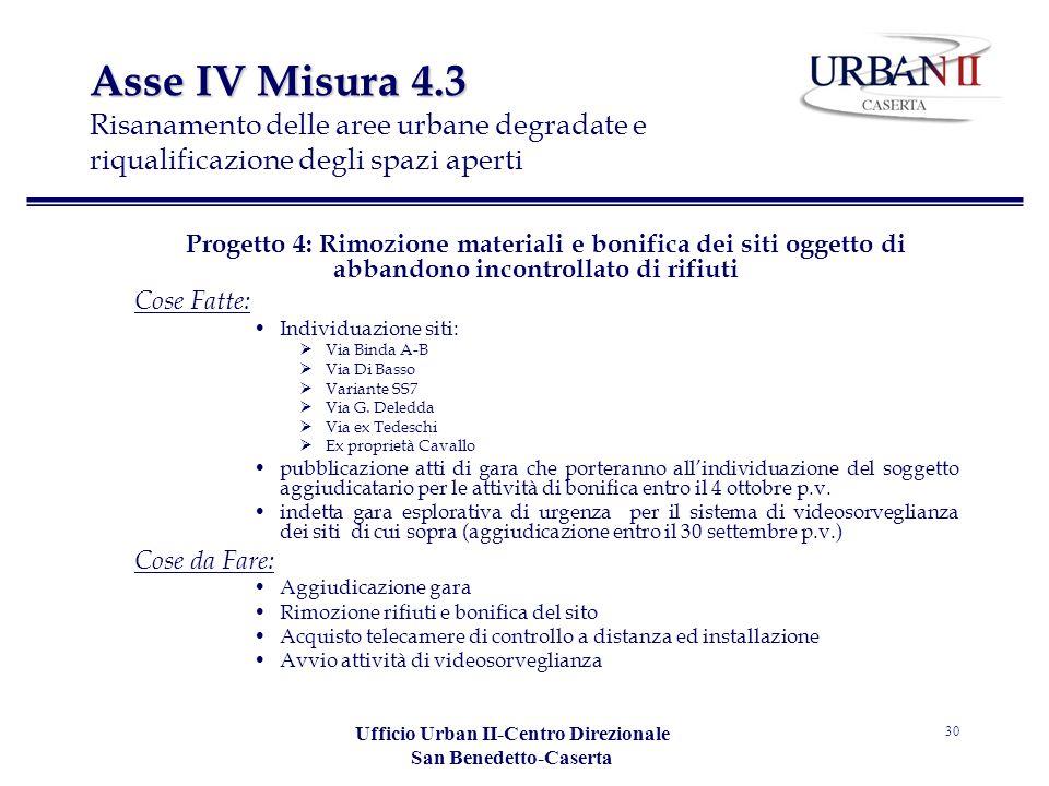Ufficio Urban II-Centro Direzionale San Benedetto-Caserta 30 Asse IV Misura 4.3 Asse IV Misura 4.3 Risanamento delle aree urbane degradate e riqualifi