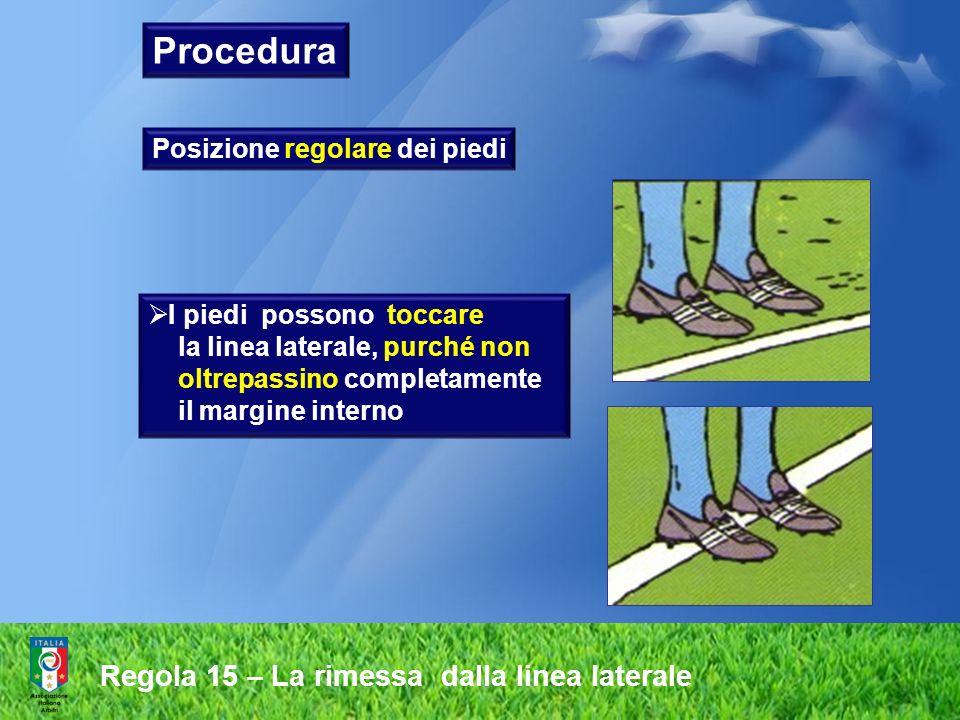 Regola 15 – La rimessa dalla linea laterale Posizione regolare dei piedi I piedi possono toccare la linea laterale, purché non oltrepassino completame