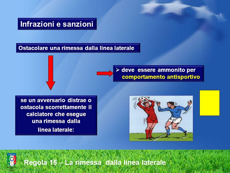 Regola 15 – La rimessa dalla linea laterale se un avversario distrae o ostacola scorrettamente il calciatore che esegue una rimessa dalla linea latera