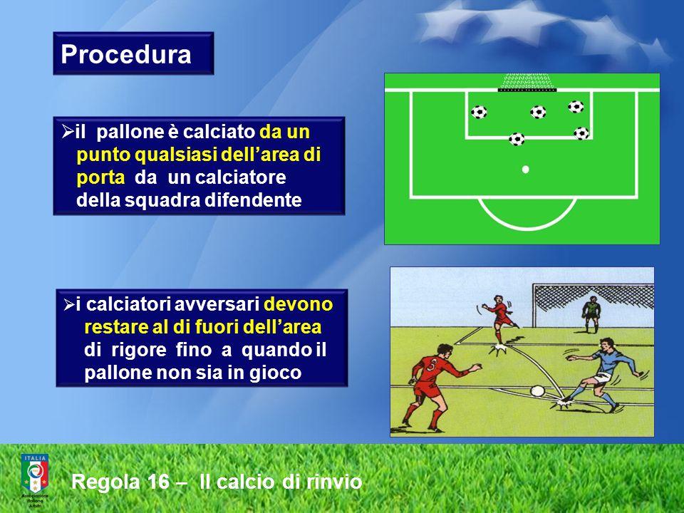 Regola 16 – Il calcio di rinvio Procedura i calciatori avversari devono restare al di fuori dellarea di rigore fino a quando il pallone non sia in gio