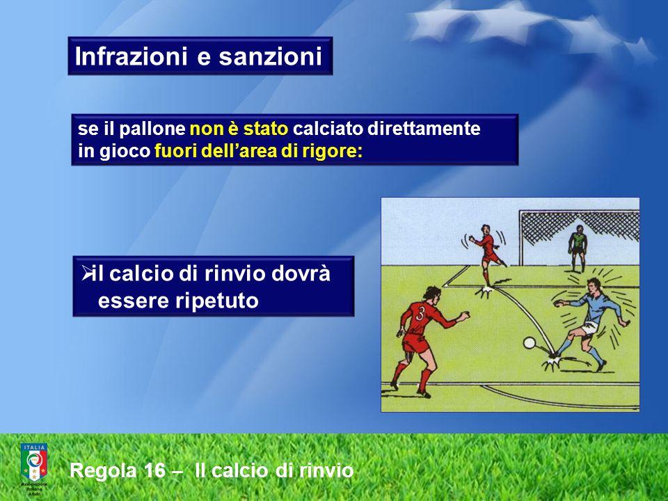 Regola 16 – Il calcio di rinvio Infrazioni e sanzioni se il pallone non è stato calciato direttamente in gioco fuori dellarea di rigore: il calcio di