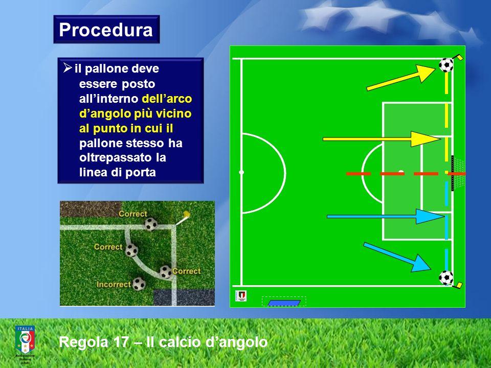 Regola 17 – Il calcio dangolo Procedura il pallone deve essere posto allinterno dellarco dangolo più vicino al punto in cui il pallone stesso ha oltre
