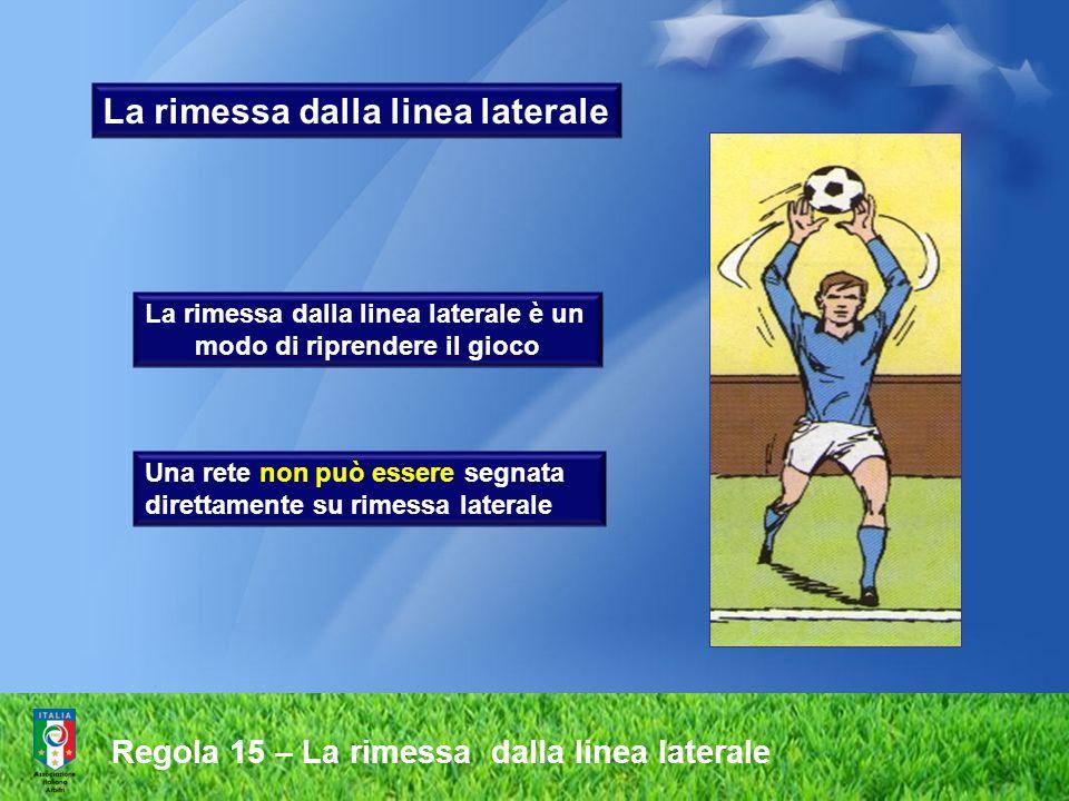 La rimessa dalla linea laterale La rimessa dalla linea laterale è un modo di riprendere il gioco Una rete non può essere segnata direttamente su rimes