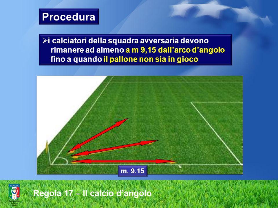 Regola 17 – Il calcio dangolo Procedura i calciatori della squadra avversaria devono rimanere ad almeno a m 9,15 dallarco dangolo fino a quando il pal
