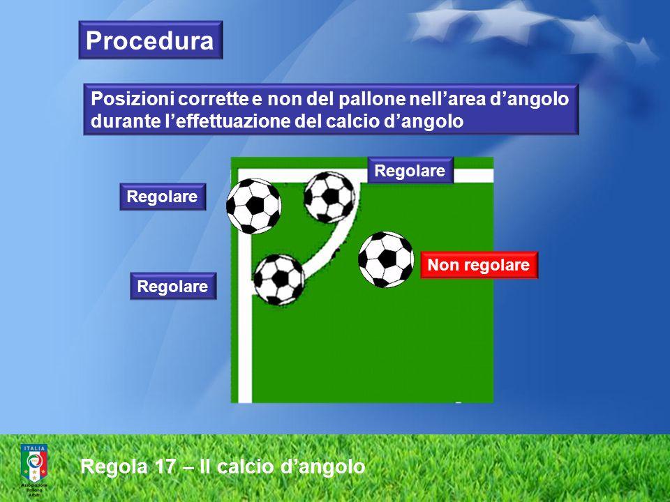 Regola 17 – Il calcio dangolo Non regolare Regolare Posizioni corrette e non del pallone nellarea dangolo durante leffettuazione del calcio dangolo Pr