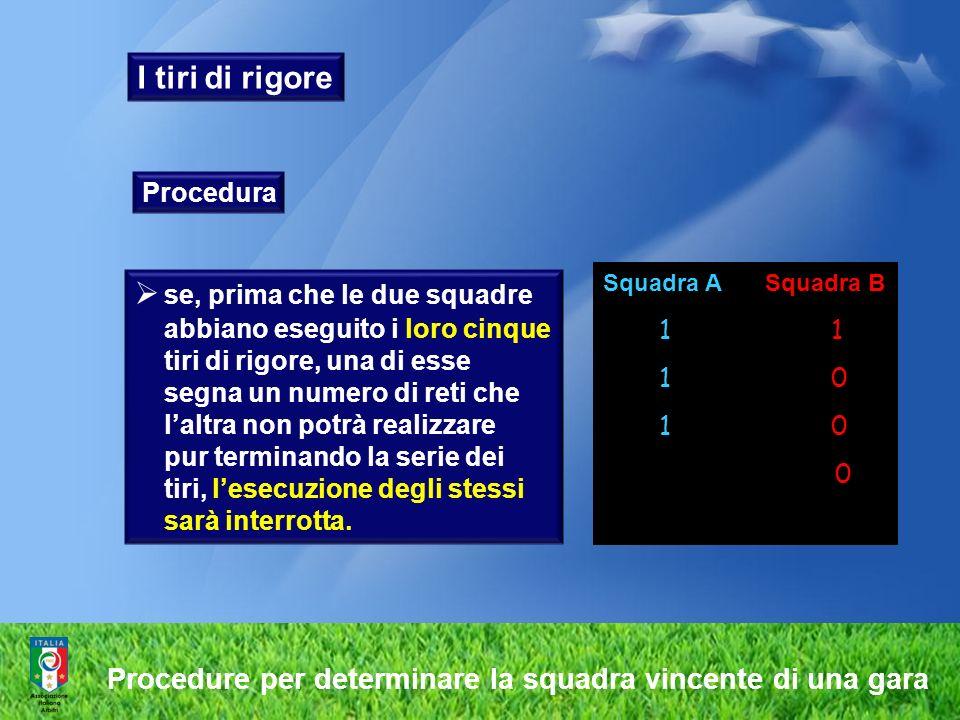 I tiri di rigore Procedura se, prima che le due squadre abbiano eseguito i loro cinque tiri di rigore, una di esse segna un numero di reti che laltra