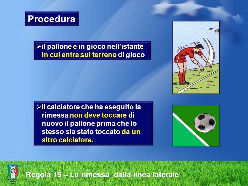 Regola 15 – La rimessa dalla linea laterale il pallone è in gioco nellistante in cui entra sul terreno di gioco il calciatore che ha eseguito la rimes