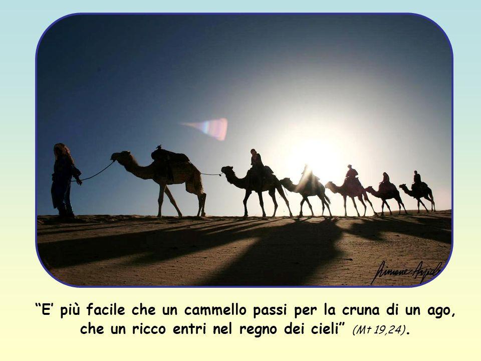 E più facile che un cammello passi per la cruna di un ago, che un ricco entri nel regno dei cieli (Mt 19,24).