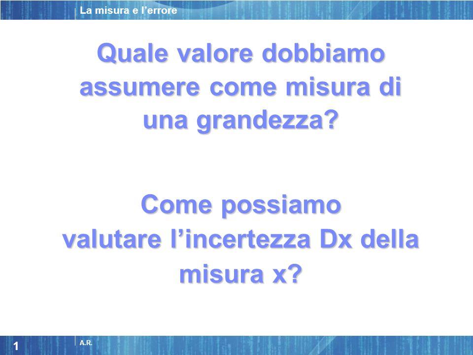 La misura e lerrore A.R. 1 Quale valore dobbiamo assumere come misura di una grandezza? Come possiamo valutare lincertezza Dx della misura x?