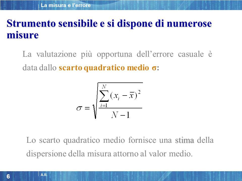 La misura e lerrore A.R. 6 La valutazione più opportuna dellerrore casuale è data dallo scarto quadratico medio σ: stima Lo scarto quadratico medio fo