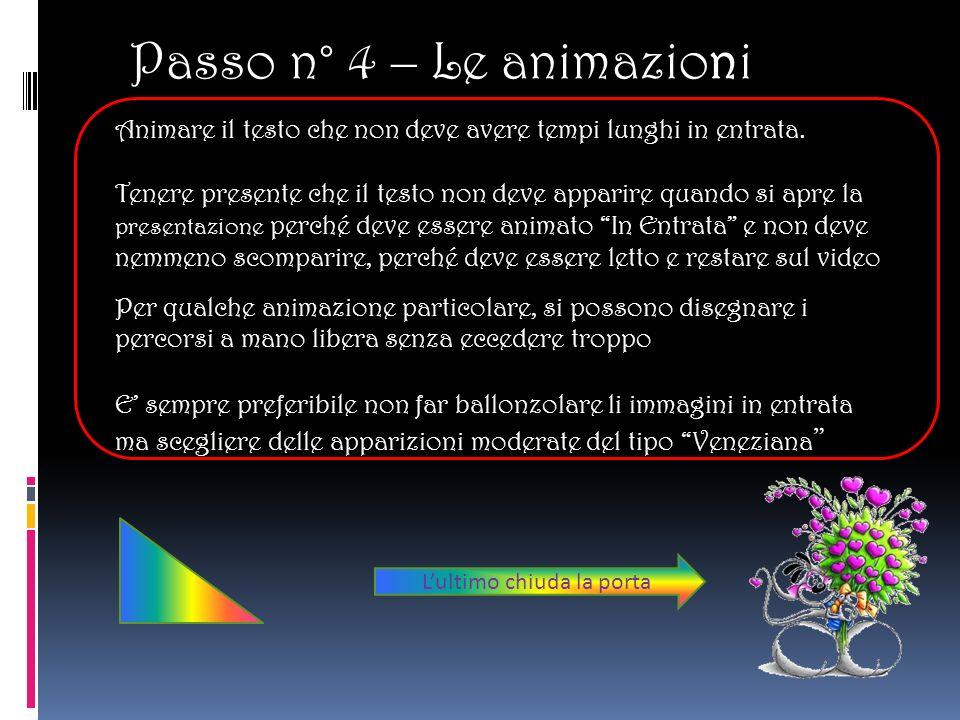 Passo n° 4 – Le animazioni Animare il testo che non deve avere tempi lunghi in entrata.