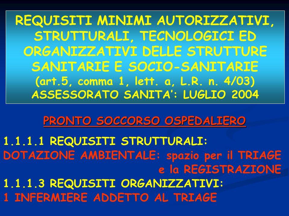 REQUISITI MINIMI AUTORIZZATIVI, STRUTTURALI, TECNOLOGICI ED ORGANIZZATIVI DELLE STRUTTURE SANITARIE E SOCIO-SANITARIE (art.5, comma 1, lett. a, L.R. n