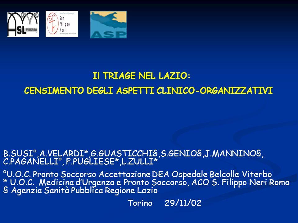 Il TRIAGE NEL LAZIO: CENSIMENTO DEGLI ASPETTI CLINICO-ORGANIZZATIVI B.SUSI°,A.VELARDI*,G.GUASTICCHI§,S.GENIO§,J.MANNINO§, C.PAGANELLI°, F.PUGLIESE*,L.