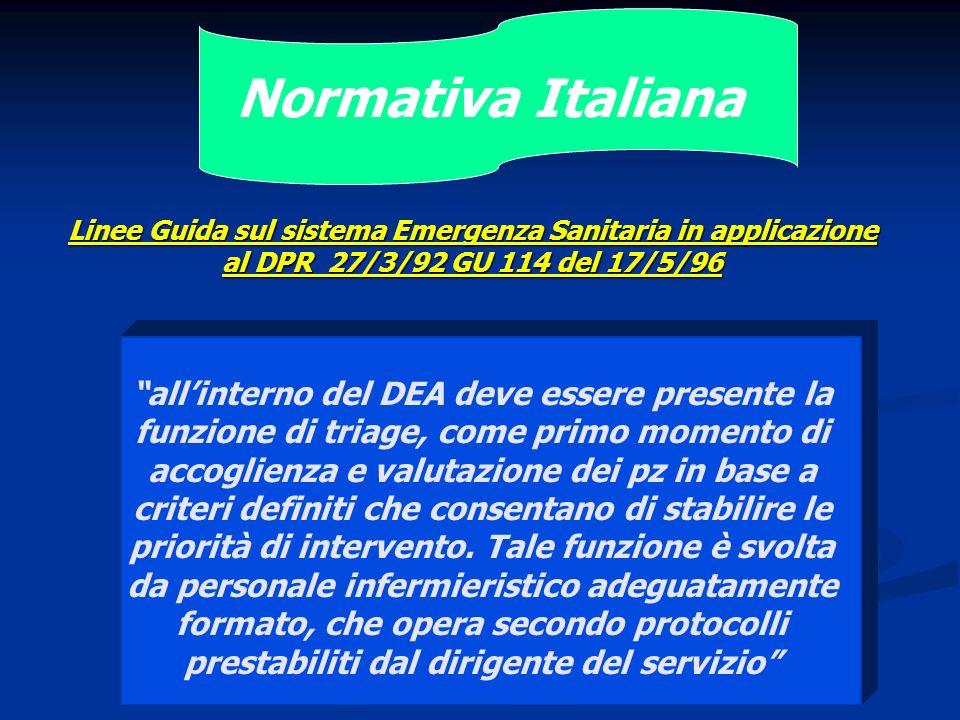 Normativa Italiana allinterno del DEA deve essere presente la funzione di triage, come primo momento di accoglienza e valutazione dei pz in base a cri