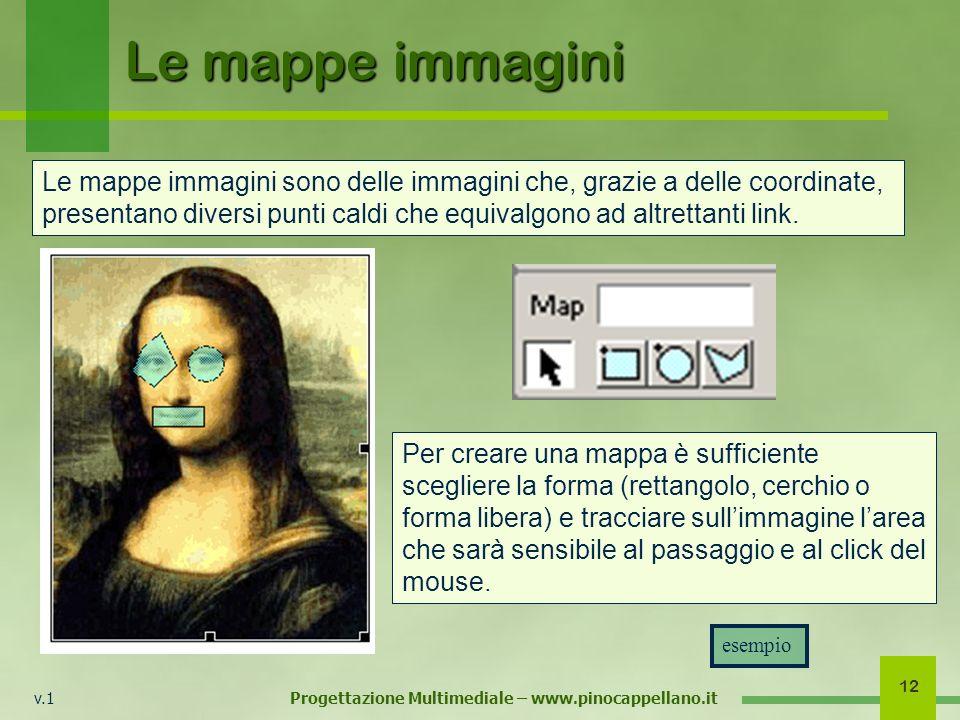 v.1 Progettazione Multimediale – www.pinocappellano.it 12 Le mappe immagini Le mappe immagini sono delle immagini che, grazie a delle coordinate, presentano diversi punti caldi che equivalgono ad altrettanti link.